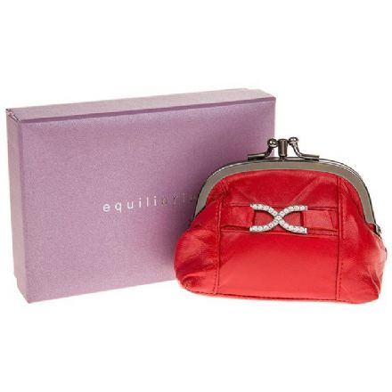 Leather Diamante Purse in Red